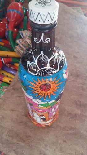 botellas decoradas 3/4 de litro artesanías de guerrero