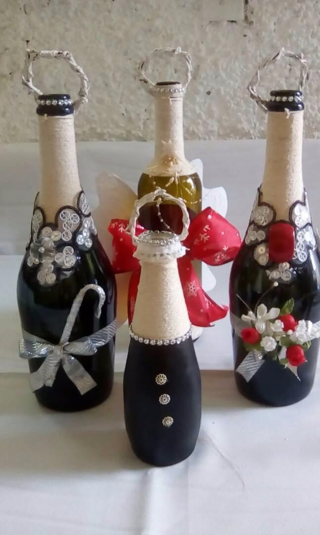 Botellas decoradas de navidad bs 0 50 en mercado libre for Botellas de vidrio decoradas para navidad