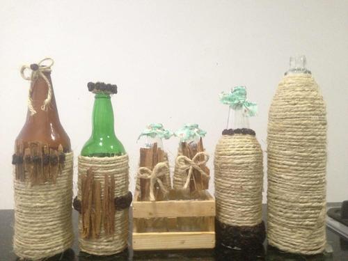 botellas decoradas vintage