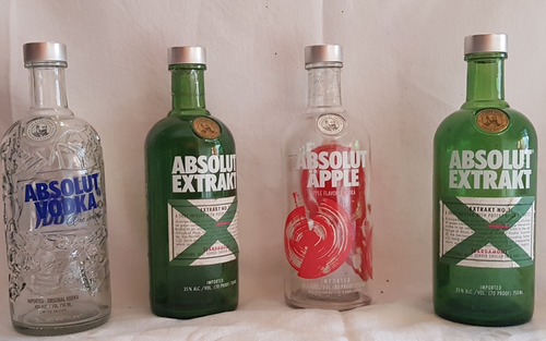 botellas vacías de vodka absolut  edición limitada
