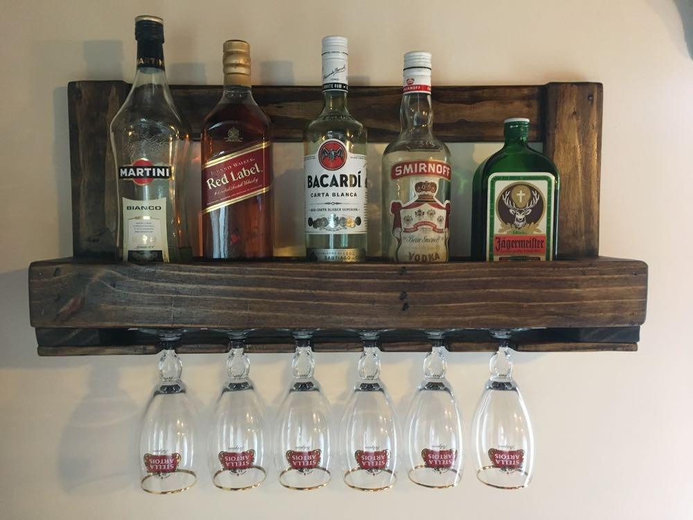 Botellero repisa con porta copas en madera maciza rusticos en mercado libre - Botelleros de madera para vino ...