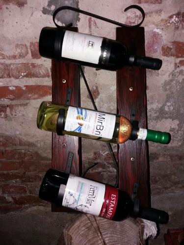 botellero vinera artesanal en hierro y madera