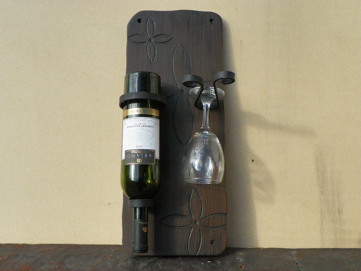 Botellero vino 2 botellas soporte2 copa artesanal mdf - Muebles para poner botellas de vino ...
