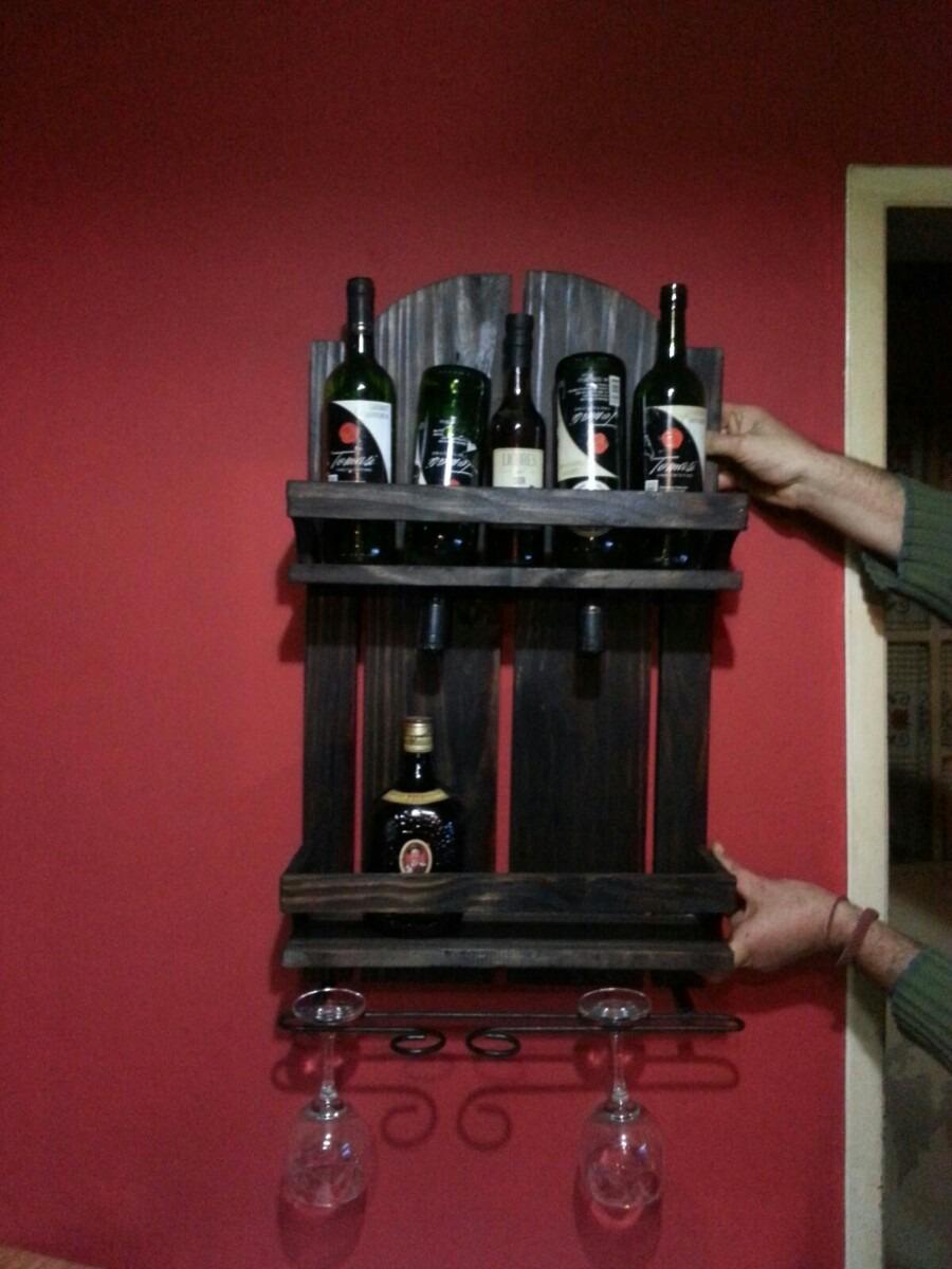 Botelleros artesanal de hierro y madera en mercado libre - Botelleros de madera rusticos ...