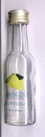botellita miniatura vacía limoncino a base de grappa italy