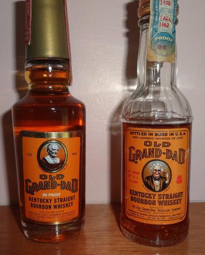 botellitas (2) de colección de whisky old grand-dad