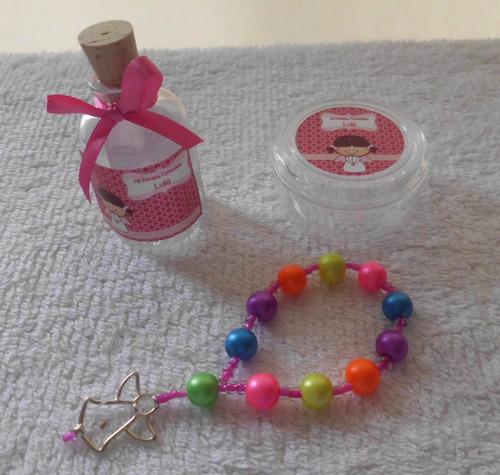 botellitas de agua bendita y decenario rosario bolo rosario