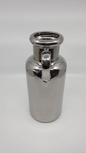 botellón chico con manija plateado diseño decoración plat9