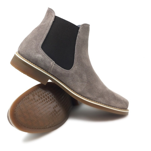 botín de caballero chelsea fina piel gamuza pulida gris