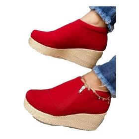 Botin Rojo Bajito En Plataforma Hermosos Zapatos Cerrados