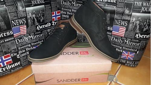 botin sport elegante marca sandder azul y negro