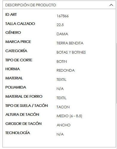 29f3ad06e5e Botin Tacon Ancho Comodo Tb Color Beige Textil Zw125 -   741.00 en ...