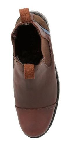 botín triples de piel café elástico mod. rodrigo