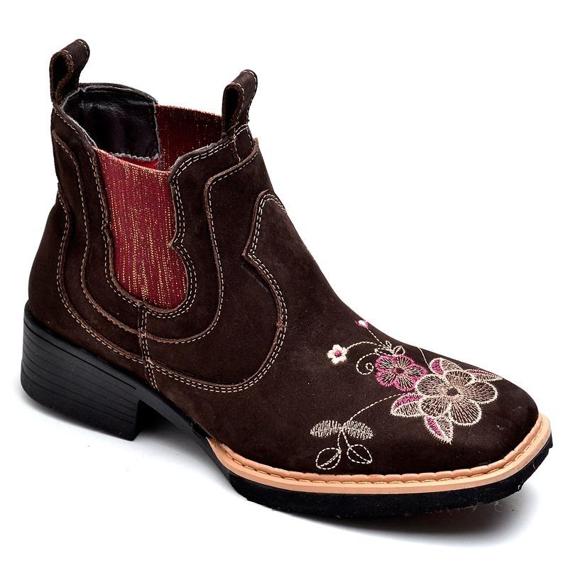 dd2d4f7a9 botina bota feminina country cano curto bico quadrado couro. Carregando  zoom.