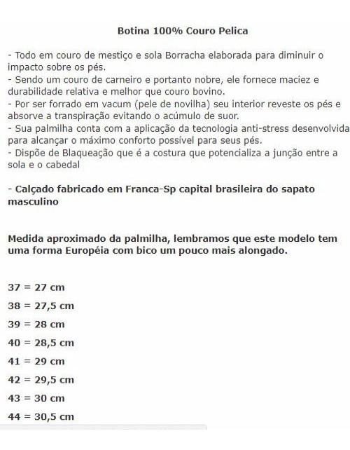 75167c9a51 Botina Bota Masculina Couro Pelica Sola Borracha Com Zíper - R$ 118 ...