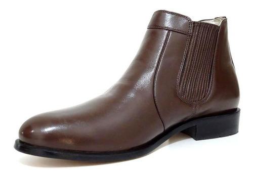 botina bota masculina estilo social couro legítimo elástico