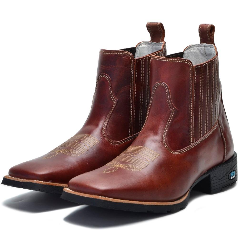 botina bota quadrada country masculina couro legítimo. Carregando zoom. 6be78b0ab8f