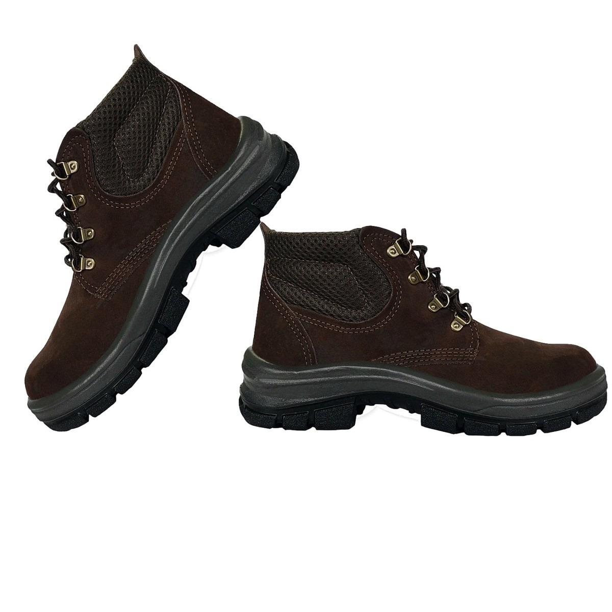 botina bota segurança couro nobuck marrom s bico plastico. Carregando zoom. ad7ced396a