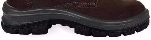 botina bota segurança couro nobuck marrom s/bico plastico