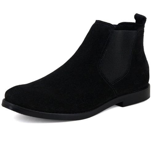 botina chelsea boots toda preta couro camurça + brinde