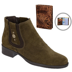 f7549c6671 Botina Chelsea Boots Verde Feminina Em Couro + Brinde