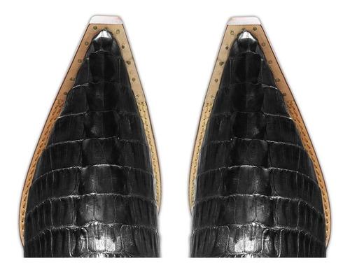 botina couro jacaré preto masculina silverado