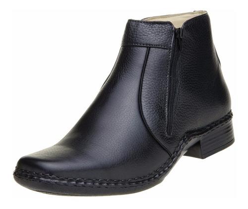 botina masculina confortável sola costurada couro legítimo