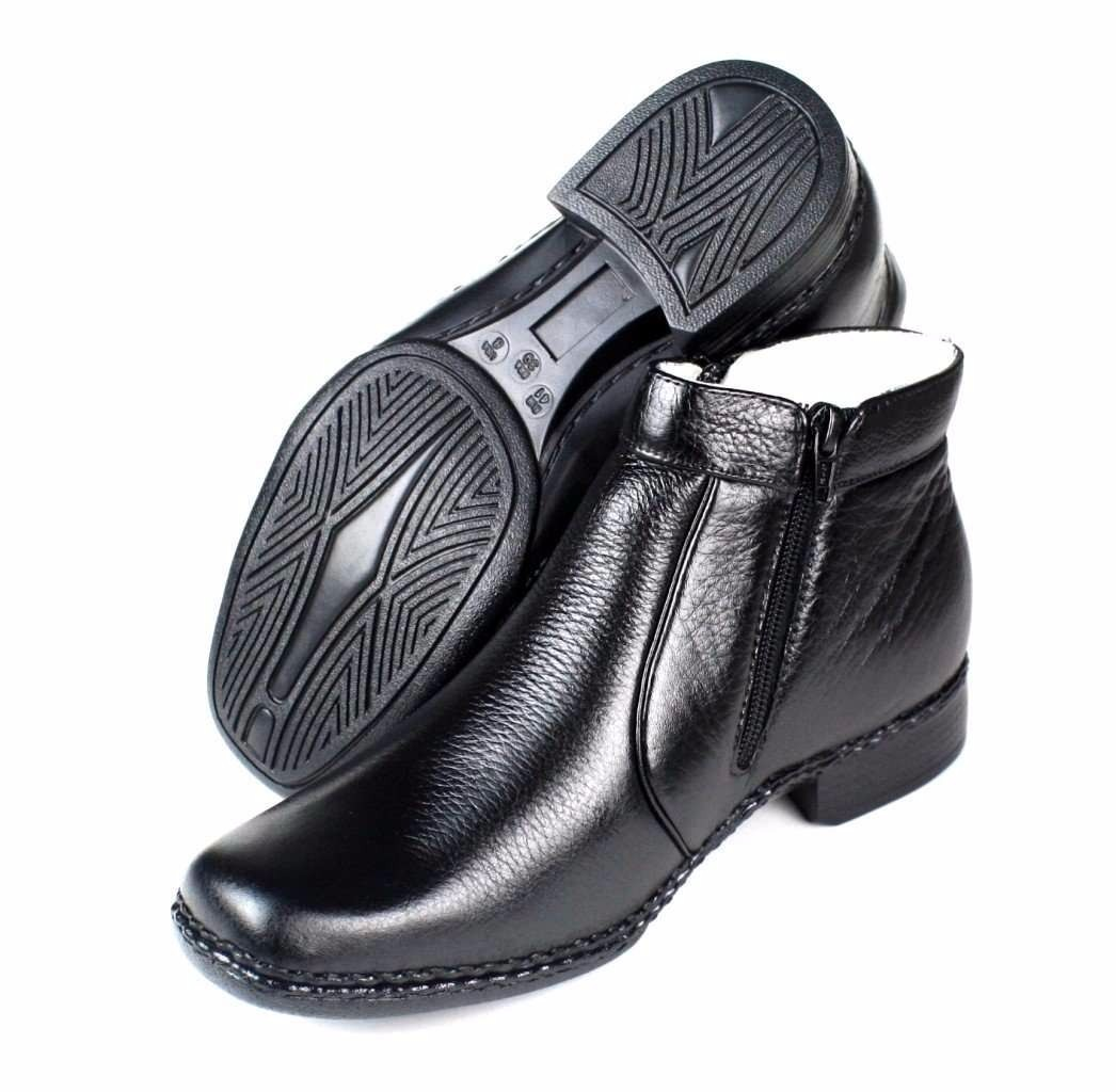 e45919e37c Botina Masculina Conforto Cano Curto Com Ziper Couro - R$ 169,42 em ...