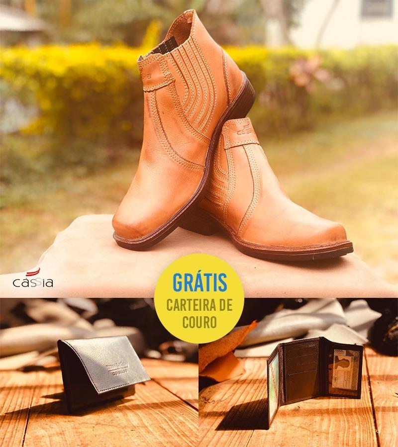 3979fd641e8bd Botina Social Elástico Haras + Carteira Mini Couro Masculina - R ...