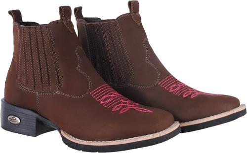 botina texana country unissex bota bico quadrado