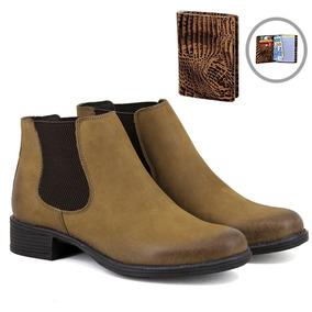 b248a10f16 Botina Chelsea Boots Lançamento Feminina Em Couro + Brinde