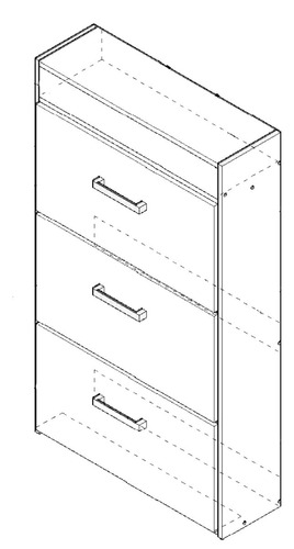 botinero orlandi 3 puertas 1 cajon 18 pares 700 x 1218 x 250