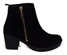 7545821b Botines Botas Zapatos Mujer Tacon 5/2 Negro Nobuc Cremallera
