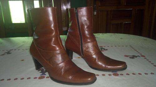 botines colombianos de cuero marrones talla 36