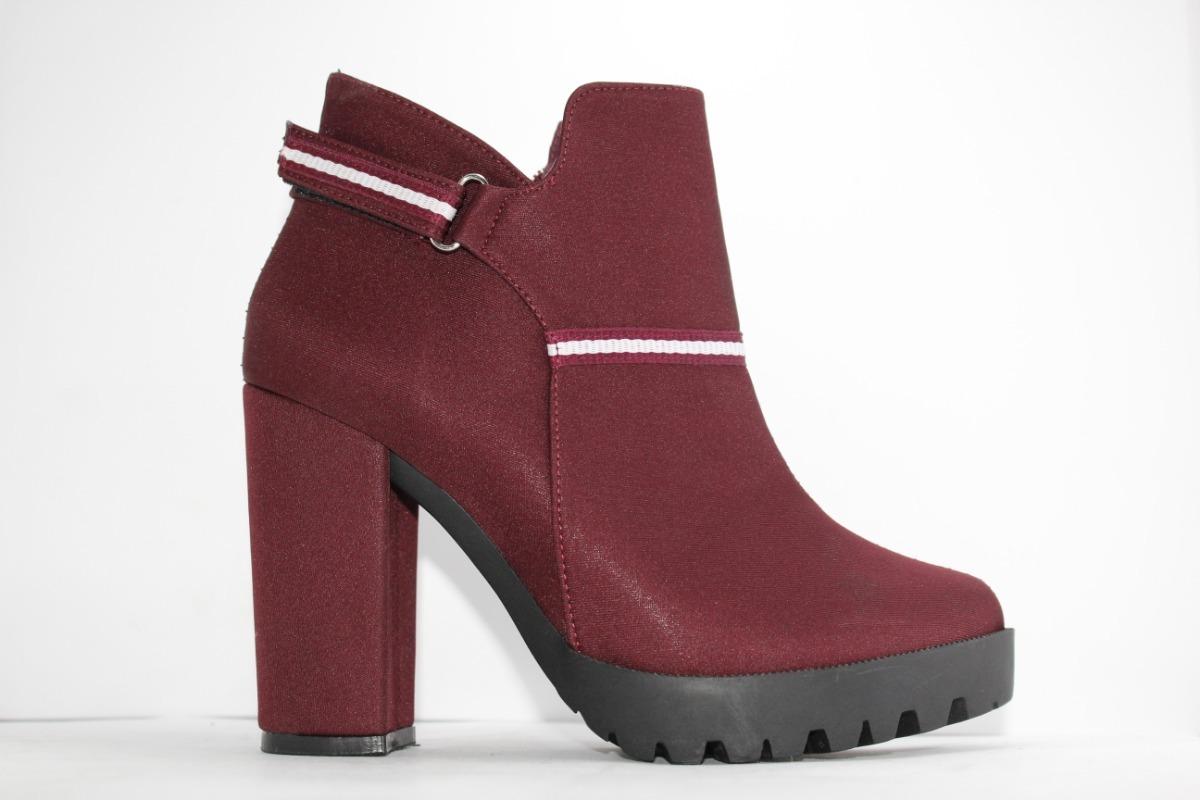 04208707e5af7 botines de mujer tacon zapatos botas para dama color vino. Cargando zoom.