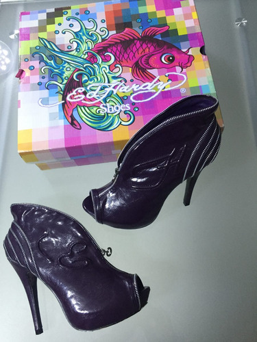 botines ed hardy dama talla 7 purpura