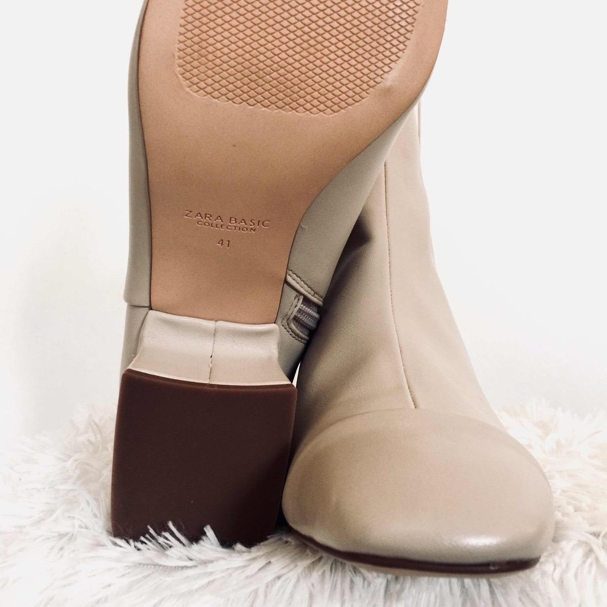 80f98ad210d Botines De Piel Para Mujer Color Beige Marca Zara -   600.00 en ...