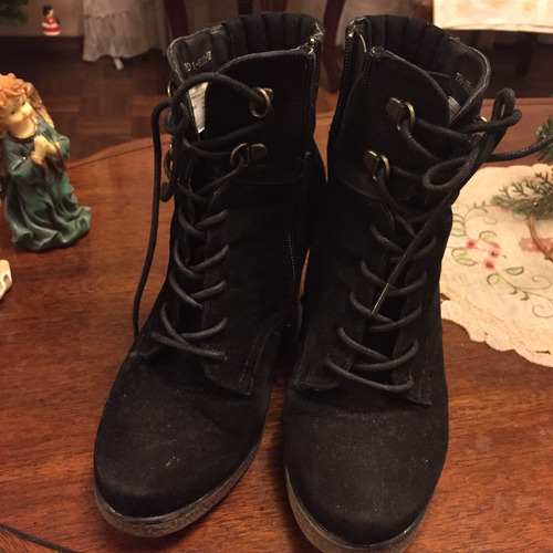 botines  negras tipo gamuza