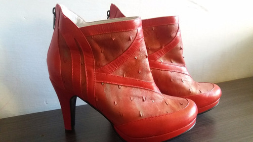 botines rojos de tacón alto en puro cuero genuino colombiano