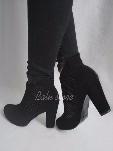 botines tacón cuadrado altos de moda para vestido o pantalón