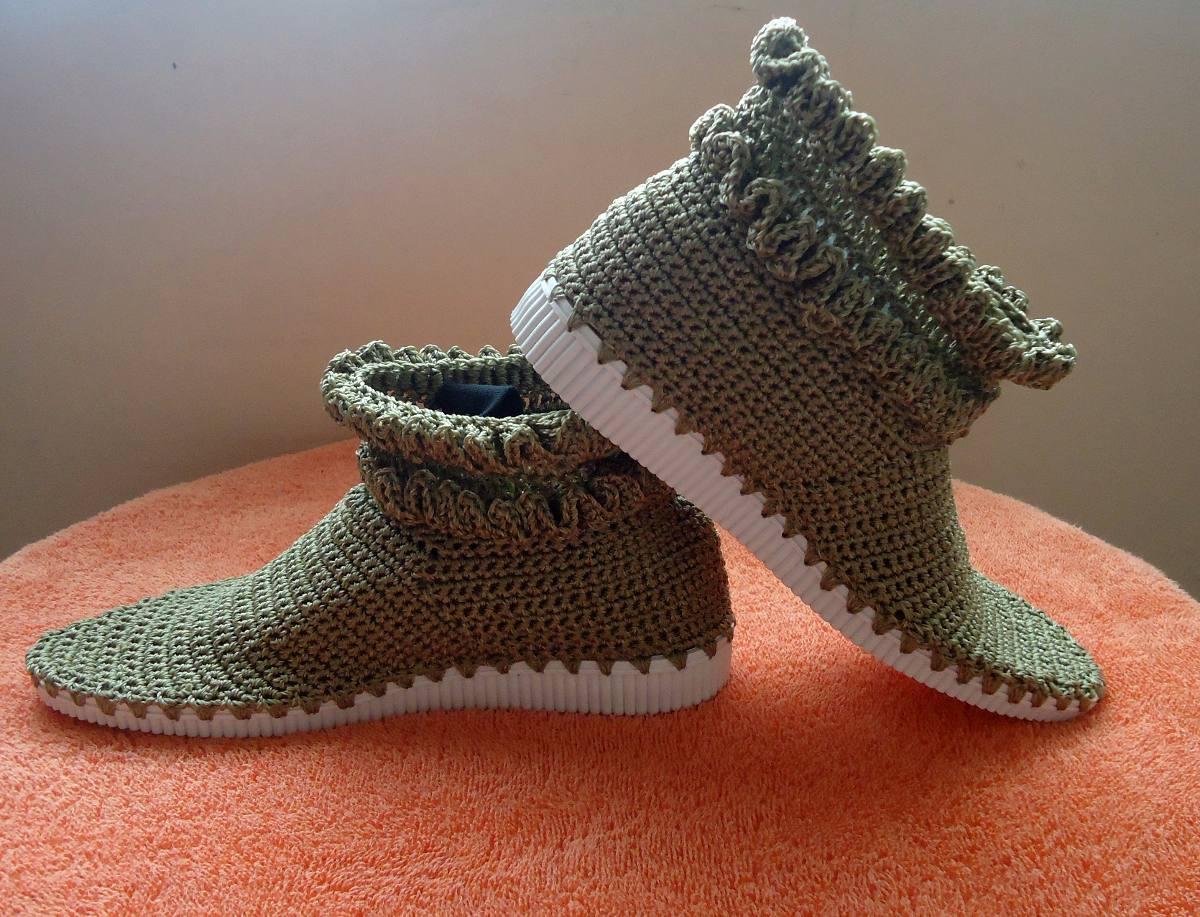 botines zapatos botas tejidas en nylon dama crochet bs 259 99 en mercado libre. Black Bedroom Furniture Sets. Home Design Ideas
