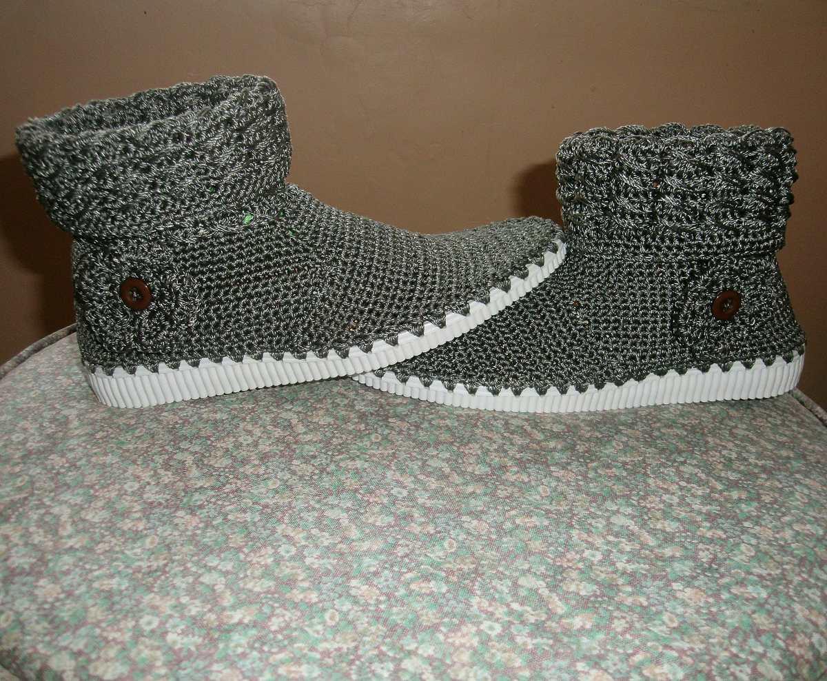 Botines Zapatos Botas Tejidas En Nylon Dama Crochet - Bs. 259,99 en ...