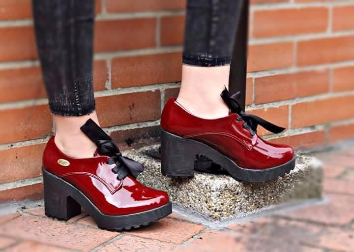2323eb3156b7b Botines Charol Cordón Tacón Grueso Zapatos Moda 2017 Mujer ...