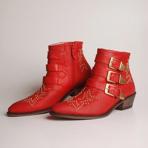 botineta texana de cuero. nelly roja. otro calzado