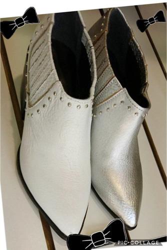 botinetas botas botitas c/tachitas y punta cuero 100%