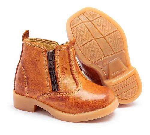 botinha infantil botina ziper couro legítimo bota country