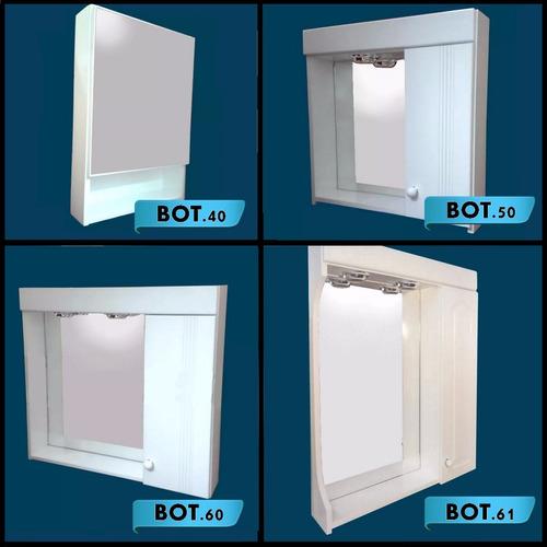 botiquin espejo laqueado puerta vidrio 2 luces 60 x70 cuotas