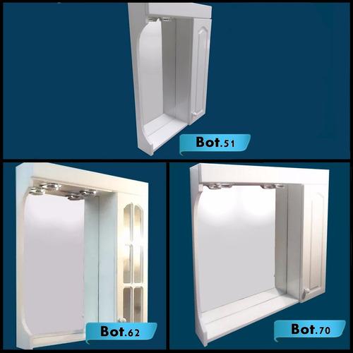 botiquin espejo wengue baño laqueado 2 luces 60 x 70 cuotas