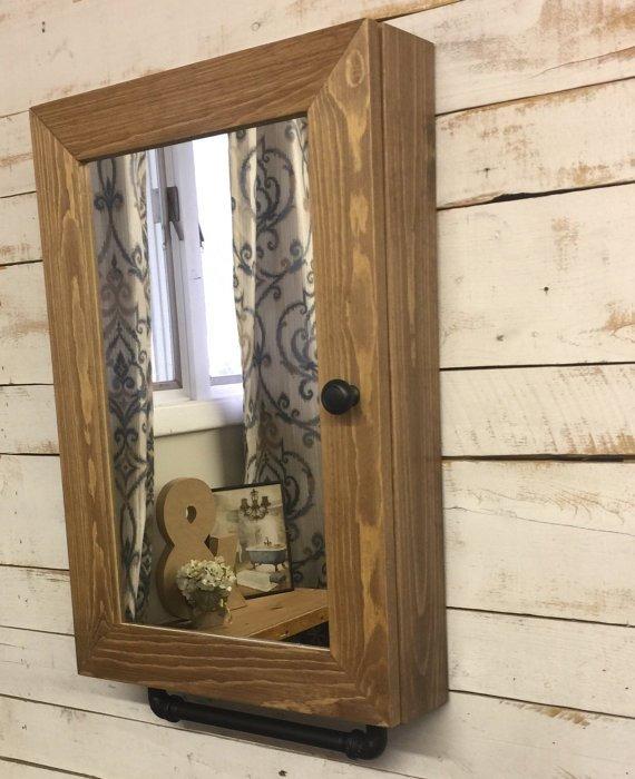 Botiquin gabinete de madera para ba o con espejo y metal for Gabinete de almacenamiento de bano de madera