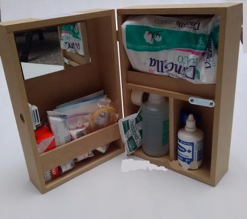 botiquin primeros auxilios madera 64 elementos 18 productos